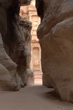 Treasury, petra, SIQ. Petra in Jordan - the treasury Royalty Free Stock Photography