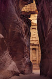 Treasury of Petra, view from the Siq, Jordan Royalty Free Stock Images