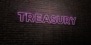 TREASURY -Realistic Neon Sign on Brick Wall background - 3D rendered royalty free stock image Royalty Free Stock Image