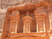 Treasury, Siq, Petra, Jordan. Treasury, Al-Khazneh, close up of upper part of the sandstone facade, Petra, Jordan Royalty Free Stock Photos