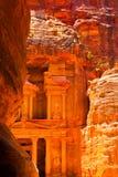 The Treasury temple in Petra. The Treasury temple Al-Khazneh in Petra, Jordan stock photo