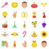 Treat icons set, cartoon style Stock Photos