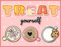 Treat yourself cute funny postcard with cups of sweet drinks. Cute coffee mugs with tempting inscription flyer. Treat yourself cute funny postcard with cups of stock illustration