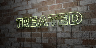 TREATED - Glowing Neon Sign on stonework wall - 3D rendered royalty free stock illustration. Can be used for online banner ads and direct mailers Stock Photo