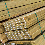Treated Pine Timber. Stacked and bound in timber yard, ready for sale Royalty Free Stock Images