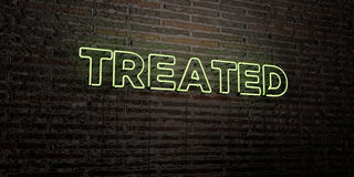 TREATED -Realistic Neon Sign on Brick Wall background - 3D rendered royalty free stock image. Can be used for online banner ads and direct mailers Stock Images
