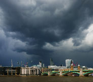 Treatening dark clouds over London. Stock Image