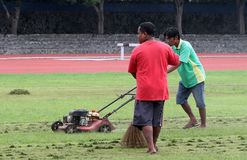 Treating grass Stock Image