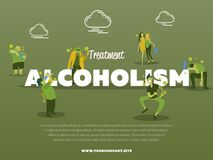Treatment alcoholism banner with drunk alcoholic. Vector illustration. Alcohol abuse, alcoholism in family, man and woman with alcohol bottle concept. Addict Royalty Free Stock Photography
