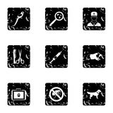 Treatment of animals icons set, grunge style Royalty Free Stock Images