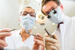Treatment at dentist from perspective of patient Stock Image
