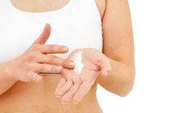 Treatment of dry hands skin with cream Stock Images
