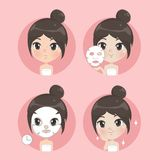 Treatment face smile cute girl royalty free illustration