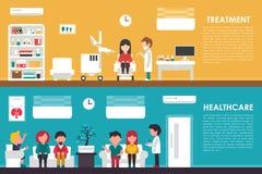 Treatment Healthcare flat hospital interior concept web vector illustration. Doctor, Nurse, Queue, Clinic. Medicine Stock Photo