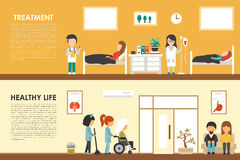 Treatment Healthy Life flat hospital interior concept web vector illustration. Doctor, Nurse, Wheelchair, Clinic Royalty Free Stock Photos