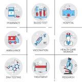 Treatment Hospital Doctors Clinic Medical Icon Set Stock Photos