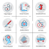 Treatment Hospital Doctors Clinic Medical Icon Set. Vector Illustration Royalty Free Stock Photo