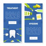 Treatment, Hygiene Vertical Banners Templates Set, Dentist Tools and Equipment, Dental Clinic Service, Mobile Website. Landing Page Design Element Vector royalty free illustration