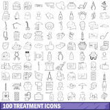 100 treatment icons set, outline style. 100 treatment icons set in outline style for any design vector illustration Stock Photo