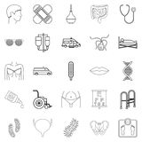Treatment icons set, outline style. Treatment icons set. Outline set of 25 treatment vector icons for web isolated on white background Royalty Free Stock Images