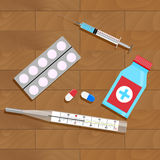 Treatment of influenza and colds. Bottle and pack capsule. Vector illustration Royalty Free Stock Photography