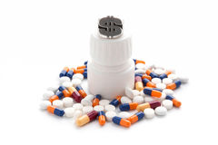 Treatment of medicines and pills Royalty Free Stock Photos