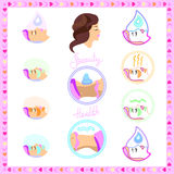Treatment of the person, body care, face icon Royalty Free Stock Images