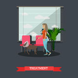Treatment of pets in vet clinic concept flat vector illustration Stock Photo