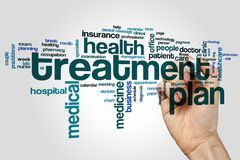 Treatment plan word cloud. Concept on grey background Royalty Free Stock Image
