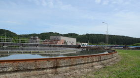 Treatment plant pool bird. Panorama of sewage waste water cleaning plant facility basin pool and birds on it stock video