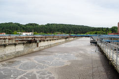 Treatment plant waste water aeration basin bubble Stock Photo
