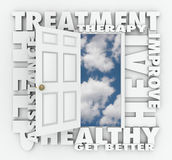 Treatment Therapy Medical Help Assistance Open Door. Treatment, Therapy and related words around an open door to a clear blue sky to illustrate medical help Royalty Free Stock Photography