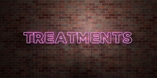 TREATMENTS - fluorescent Neon tube Sign on brickwork - Front view - 3D rendered royalty free stock picture Stock Photography
