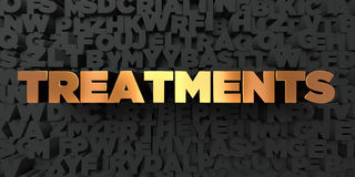 Treatments - Gold text on black background - 3D rendered royalty free stock picture Stock Photos