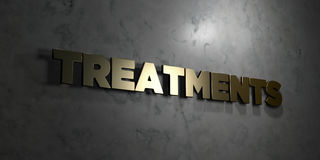 Treatments - Gold text on black background - 3D rendered royalty free stock picture Stock Image