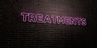TREATMENTS -Realistic Neon Sign on Brick Wall background - 3D rendered royalty free stock image Stock Image