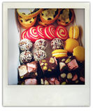 Treats. Closeup of assorted homemade baked treats royalty free stock images