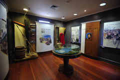 Treaty of Waitangi Museum. Paihia, New Zealand - November 27th: The mannequin of British Resident, James Busby doing his tasks as a resident being displayed stock photos
