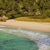 Trebaluger Bay on Minorca Stock Image