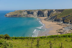 Trebarwith Strand beach and bay Cornwall near Tintagel Royalty Free Stock Image