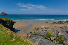 Trebarwith Strand beach Cornwall July heatwave Royalty Free Stock Photo