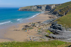 Trebarwith Strand beach Cornwall July heatwave Stock Images