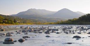 trebbia захода солнца реки стоковая фотография