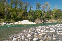 Trebbia river at Dorba near Piacenza Stock Photo
