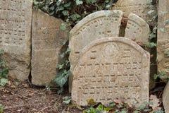 Trebic Tjeckien, April 23, 2016: Den gamla judiska kyrkogården, den gamla judiska delen av staden Trebic listas bland UNESCO Fotografering för Bildbyråer
