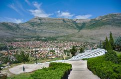 Trebinje with amphitheater, Bosnia and Herzegovina - Bird`s View. Town in the valley called Trebinje in Bosnia and Herzegovina. View of the mountains, that Royalty Free Stock Images