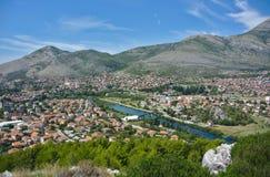Trebinje, Bosnia and Herzegovina - Bird`s View. Town in the valley called Trebinje in Bosnia and Herzegovina. View of the mountains, that surround the city Stock Image