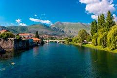 Trebinje in Bosnia and Herzegovina. Lanscape photo of an old historic town of Trebinje in Bosnia and Herzegovina, with the view of the Ottoman Arslanagic bridge Stock Photography