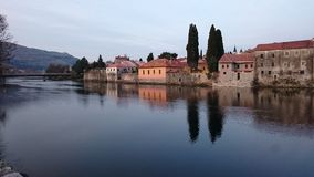Trebinje reflection. View of the old town of Trebinje in reflection Stock Photography