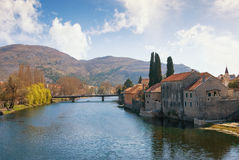 Trebisnjica river near Old Town of Trebinje. Bosnia and Herzegovina stock photo